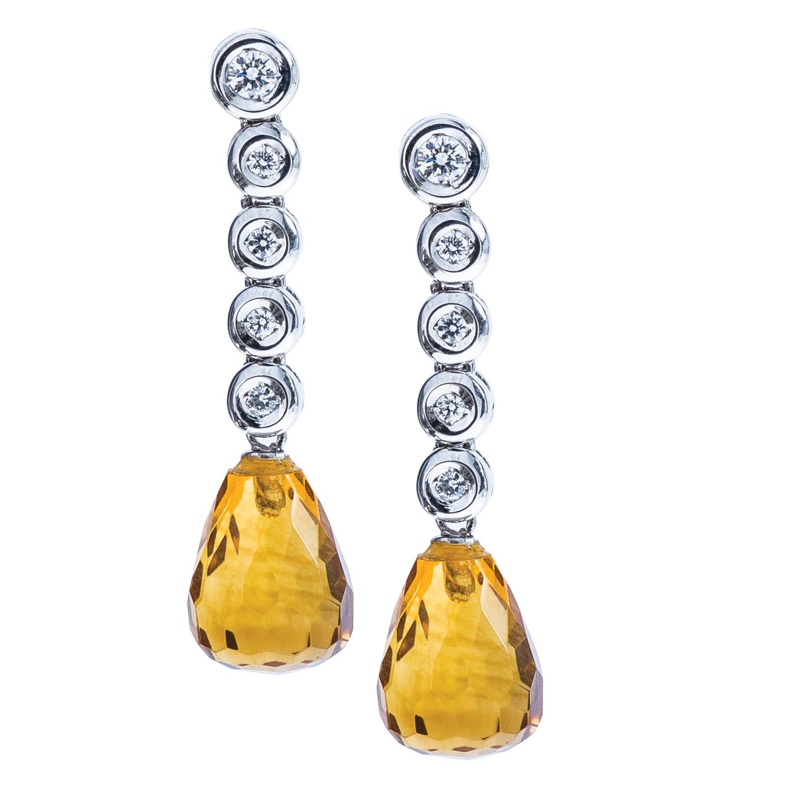 Vintage Citrine & Diamond Dangled Earrings