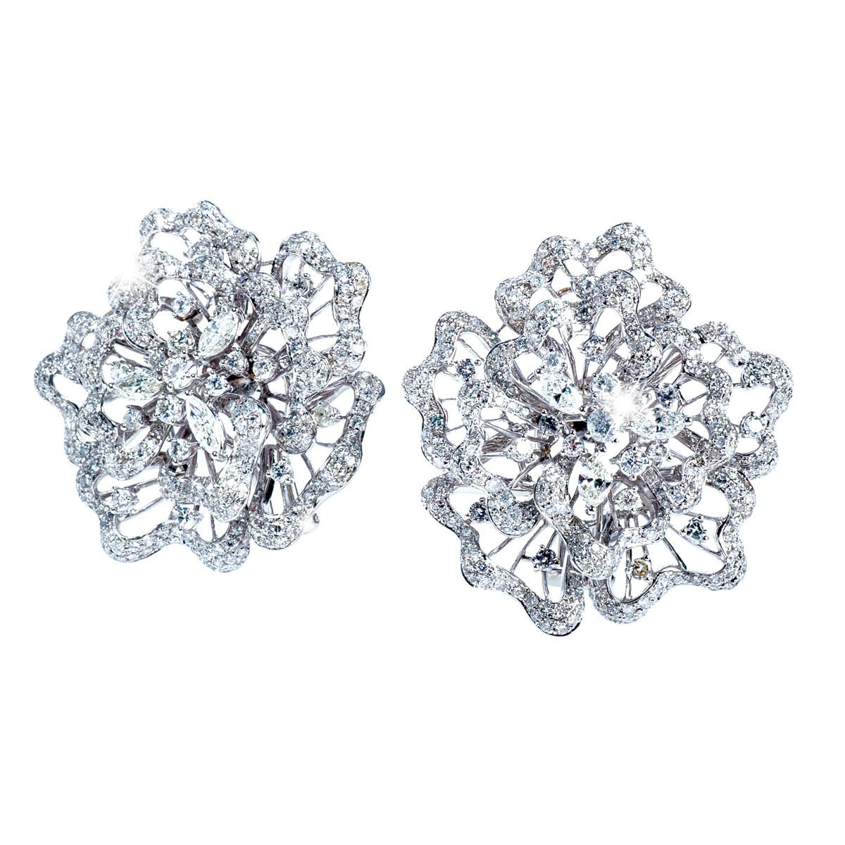 6.83 CTW Diamond Flower Earrings