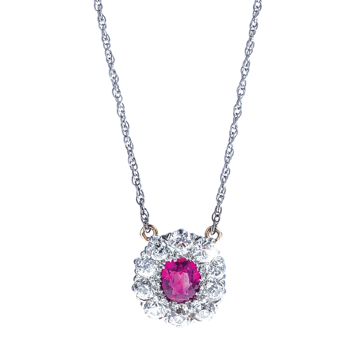 Vintage 0.68 CT Ruby & 1.05 CTW Diamond Necklace