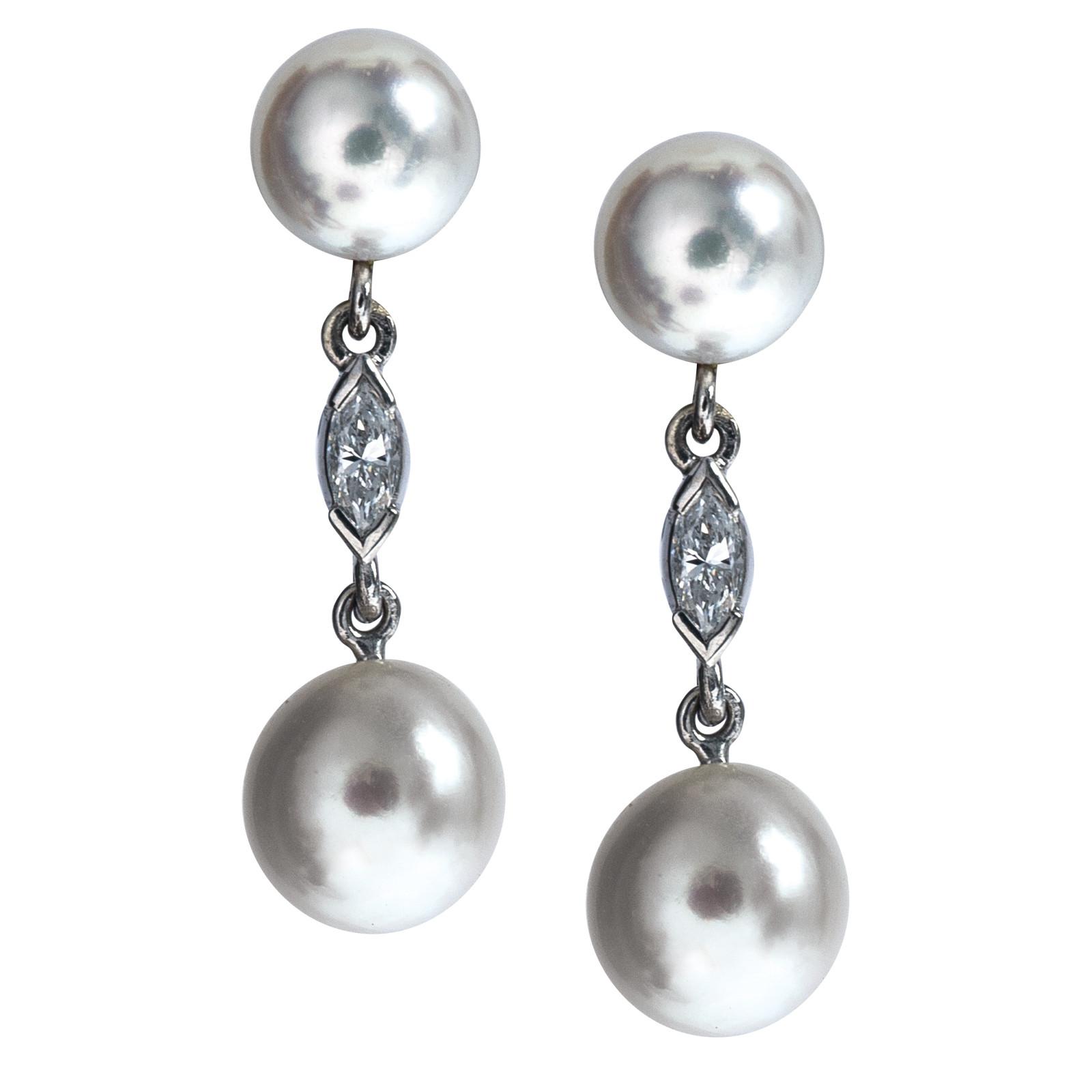 Vintage Akoya Pearl & Diamond Earrings