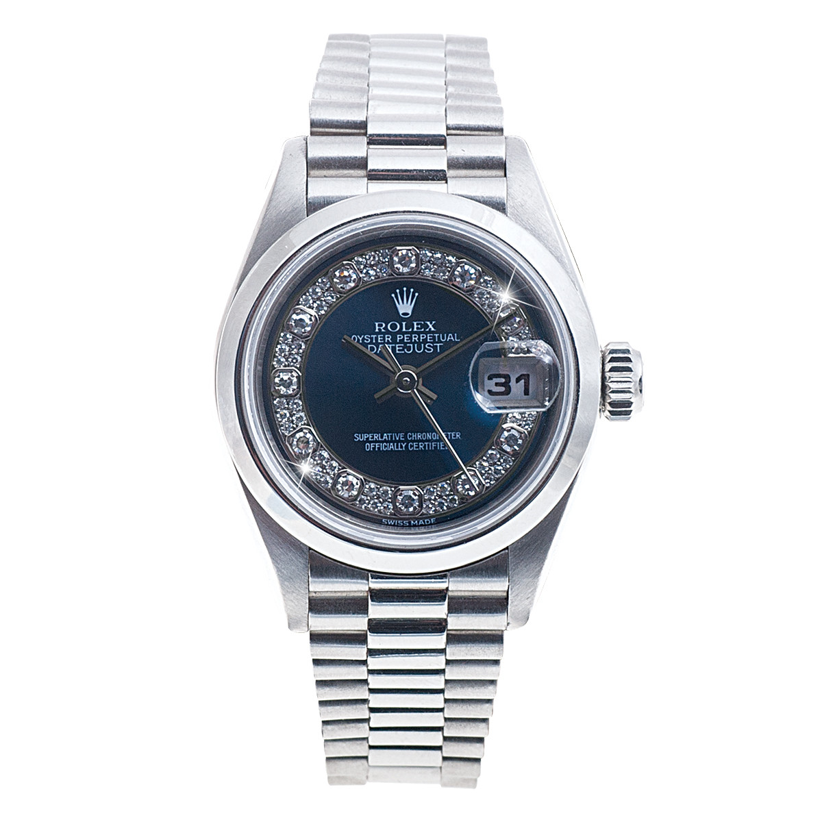 Preowned Platinum Woman's Rolex President Datejust