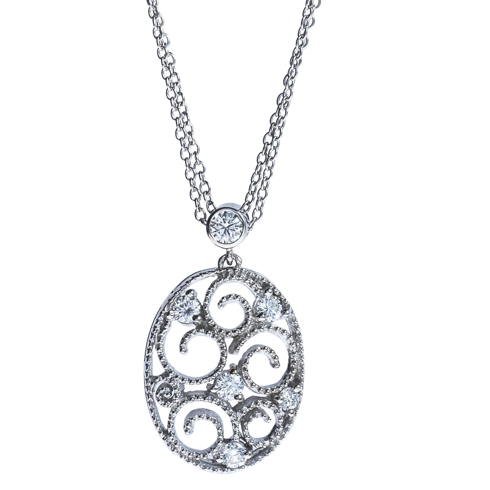 Vintage 0.30 CTW Diamond Swirl Pendant