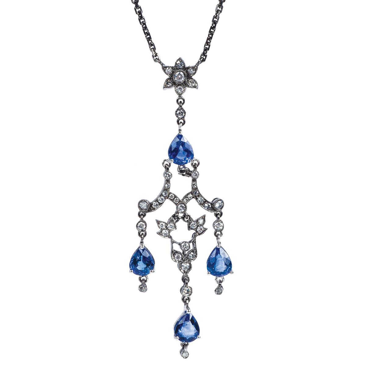 2.71 CTW Sapphire & Diamond Necklace