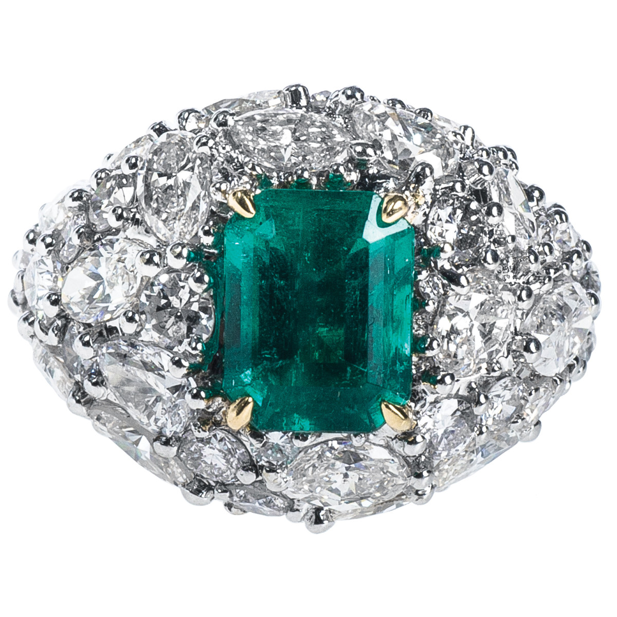 2.19 CT Emerald & 5.59 CTW Diamond Ring