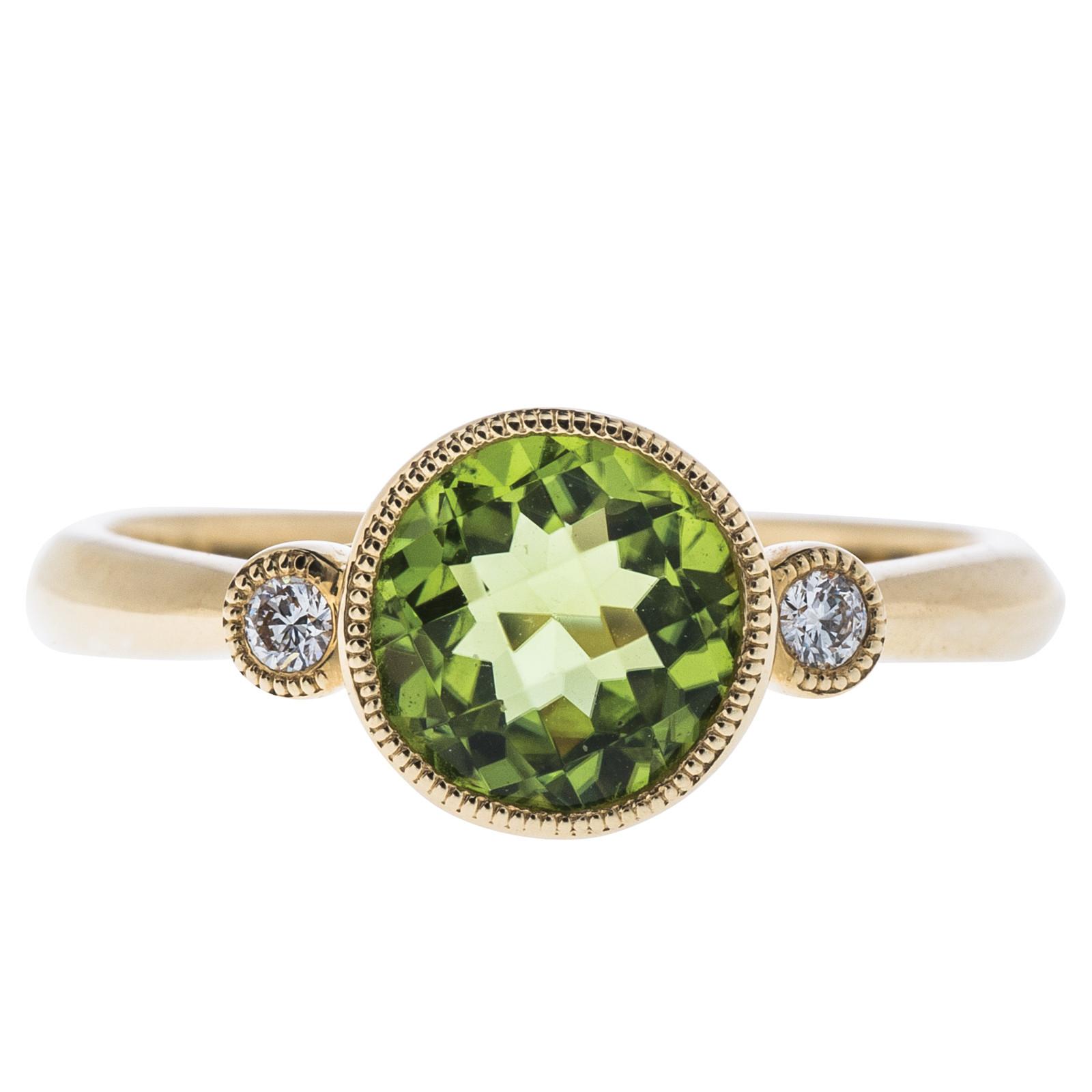 1.36 CTW Peridot & Diamond Ring