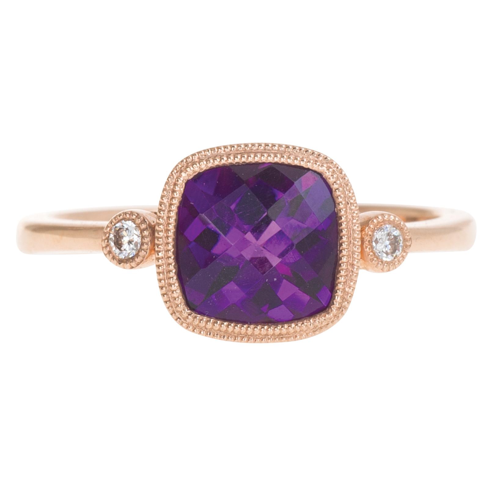 New 1.30 CT Amethyst & Diamond Ring