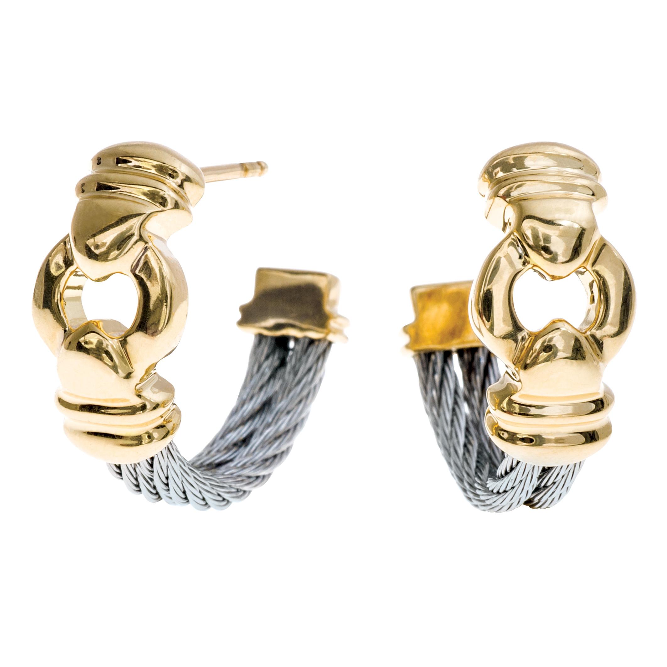 Vintage Charriol Cable Hoop Earrings