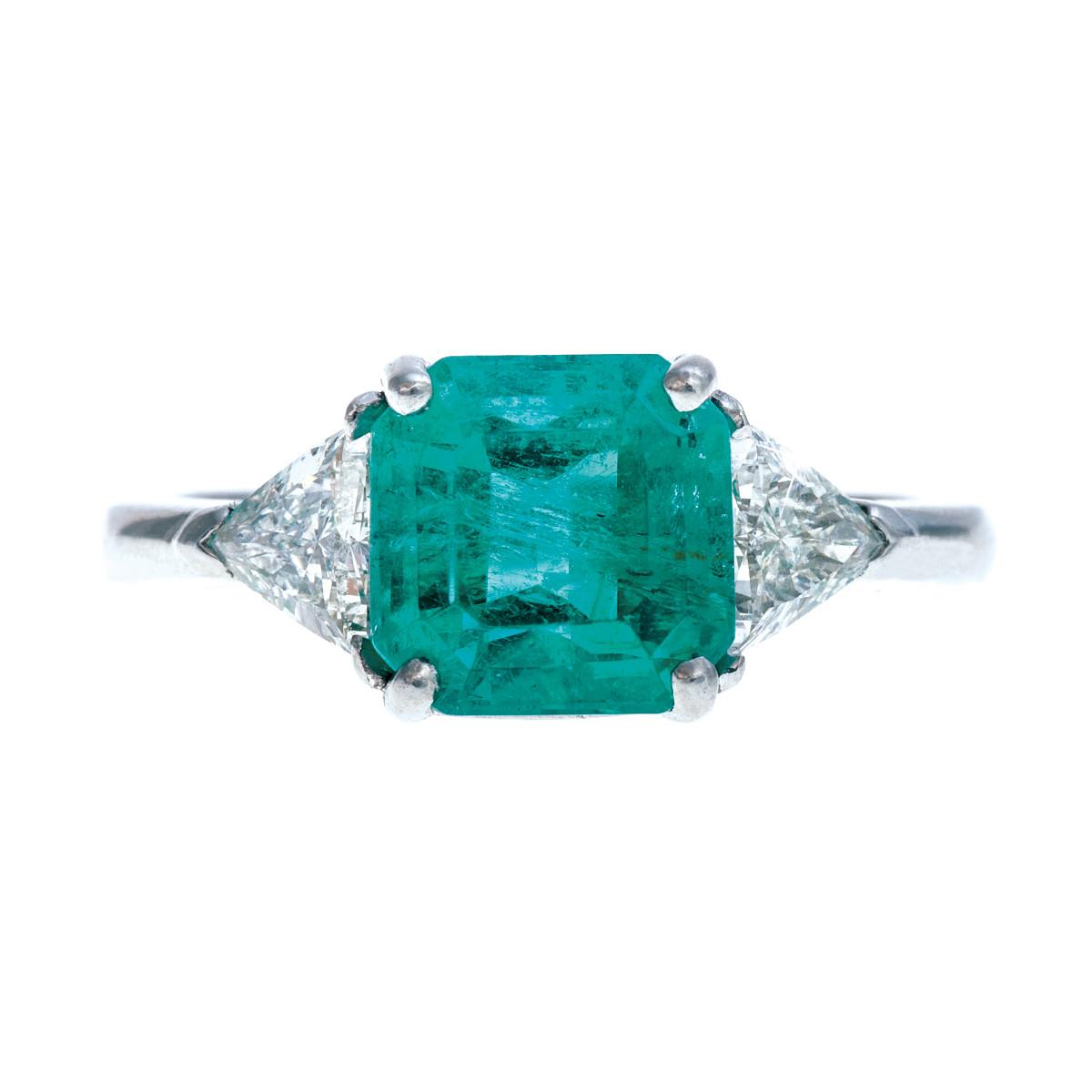 Vintage 2.50 CT Emerald & 0.57 CTW Diamond Ring