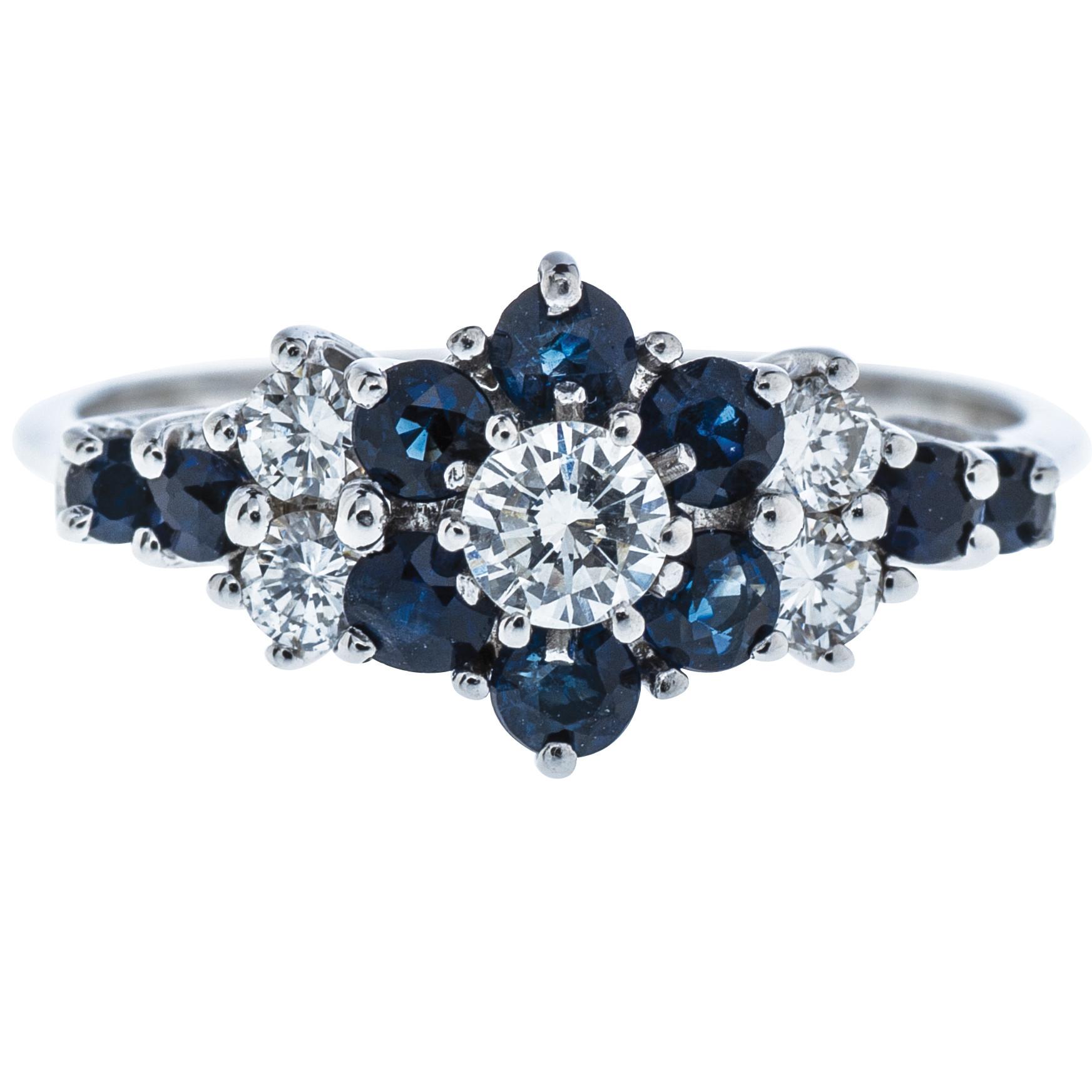Vintage 14K White Gold 0.59 CTW Sapphire & Diamond Ring