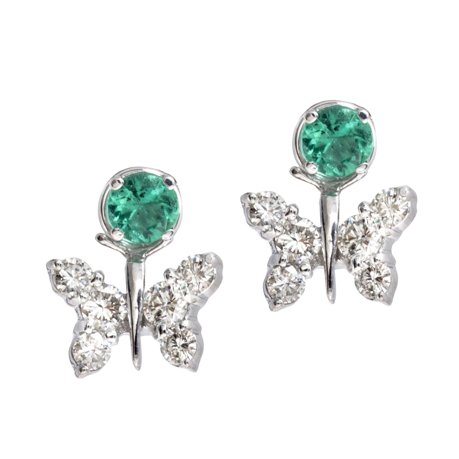 Vintage 0.42 CTW Diamond Butterfly Earring Jackets