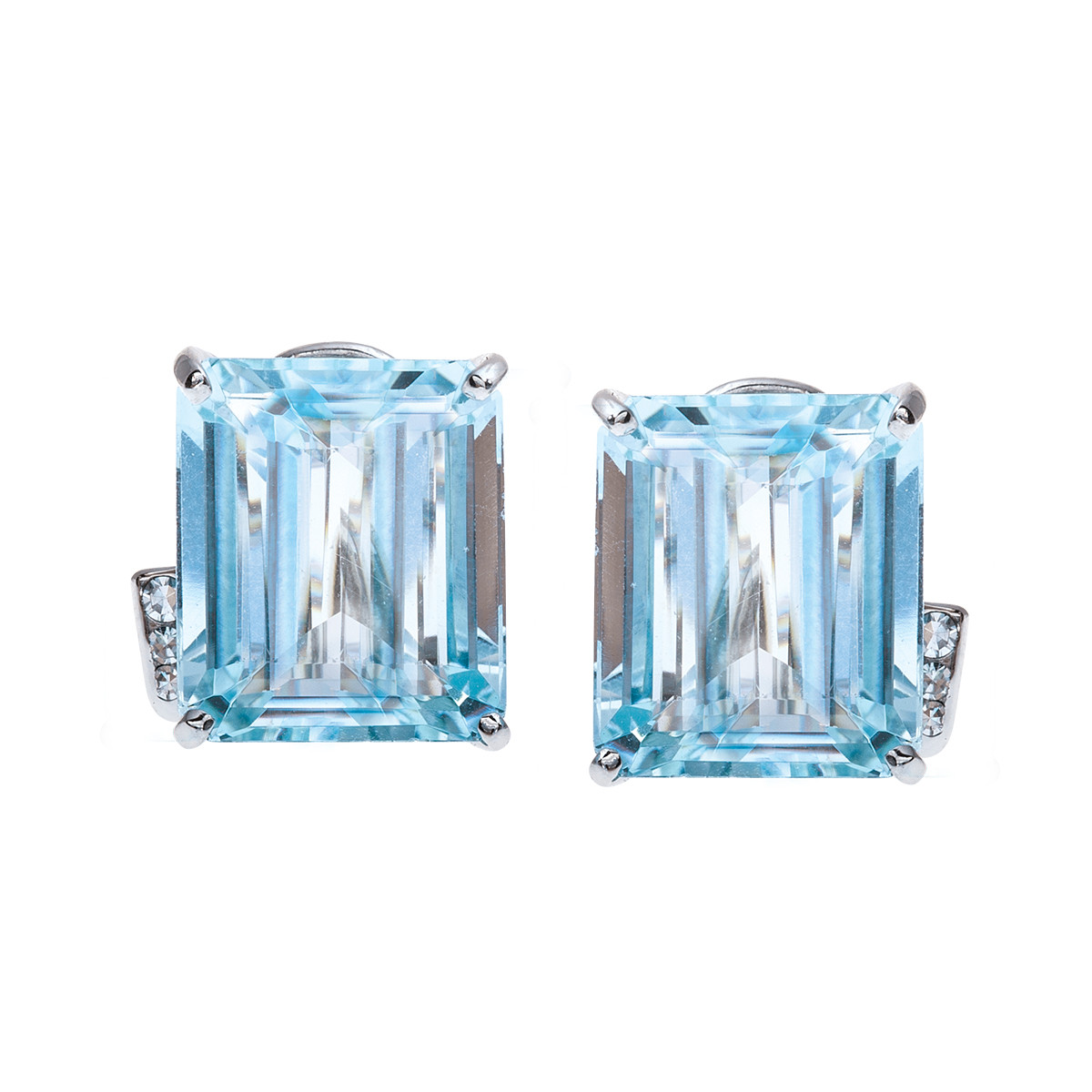 Vintage 16.00 CTW Aquamarine & Diamond Earrings