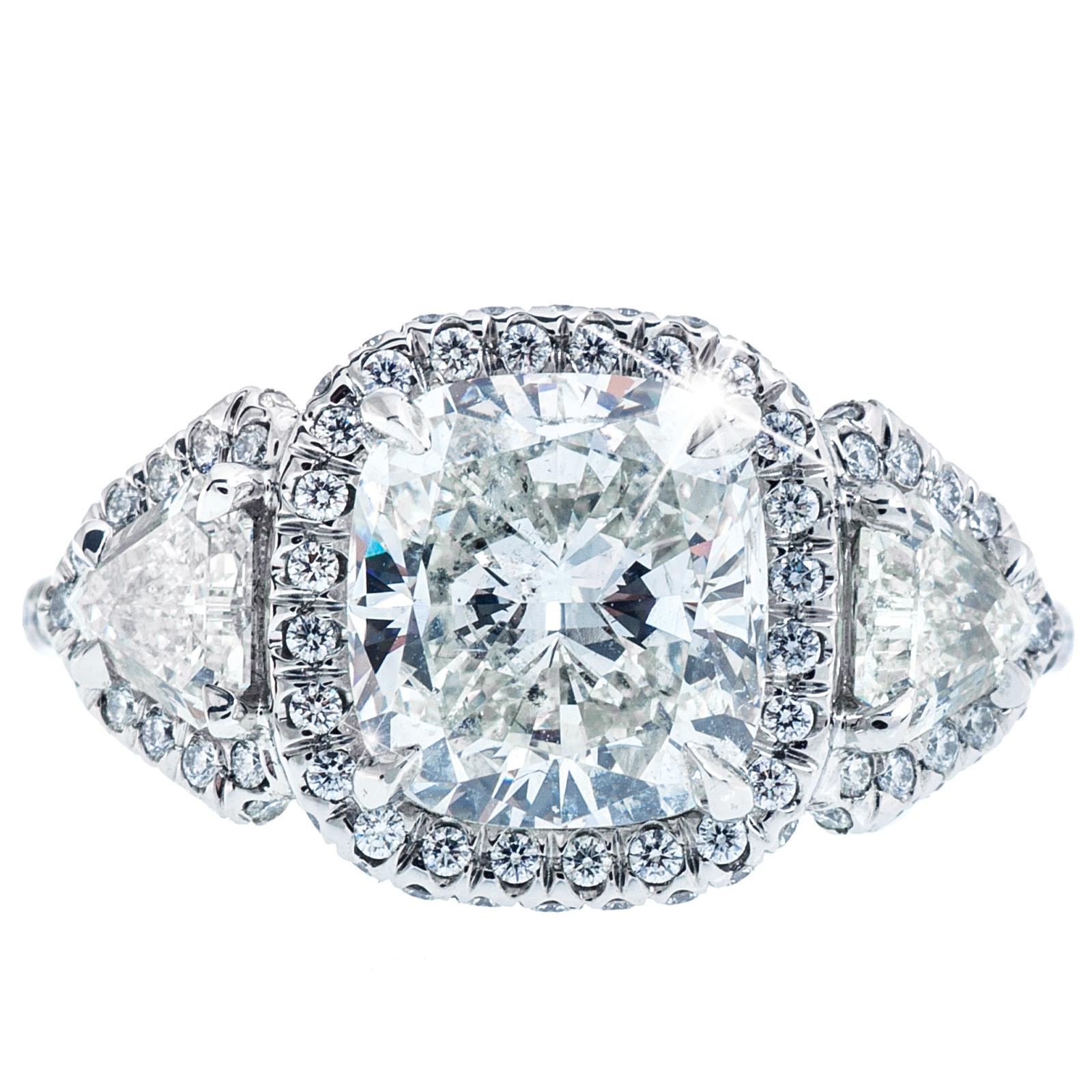Yehuda 4.34 CTW Cushion Cut Diamond Halo Ring