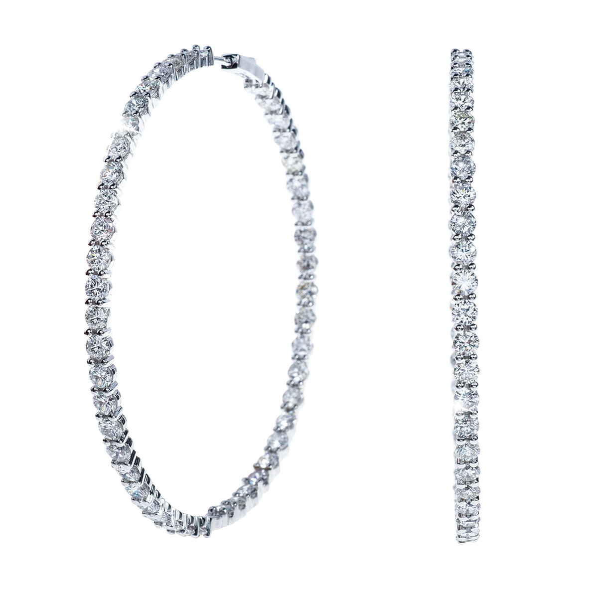 New Large 9.65 CTW Diamond Hoop Earrings