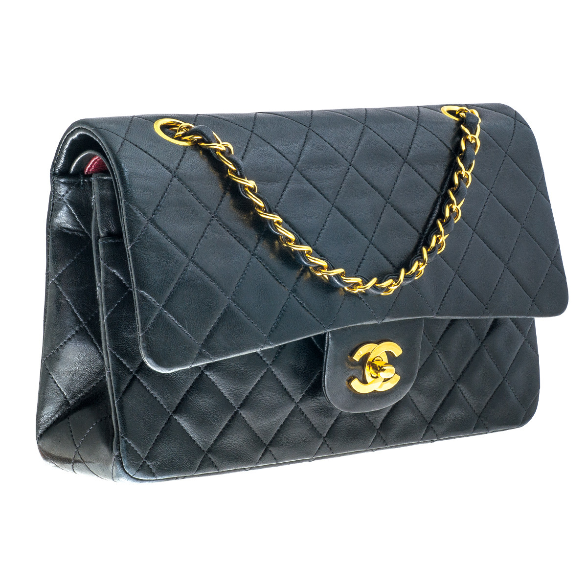 Vintage Chanel Quilted Leather Double Flap Handbag