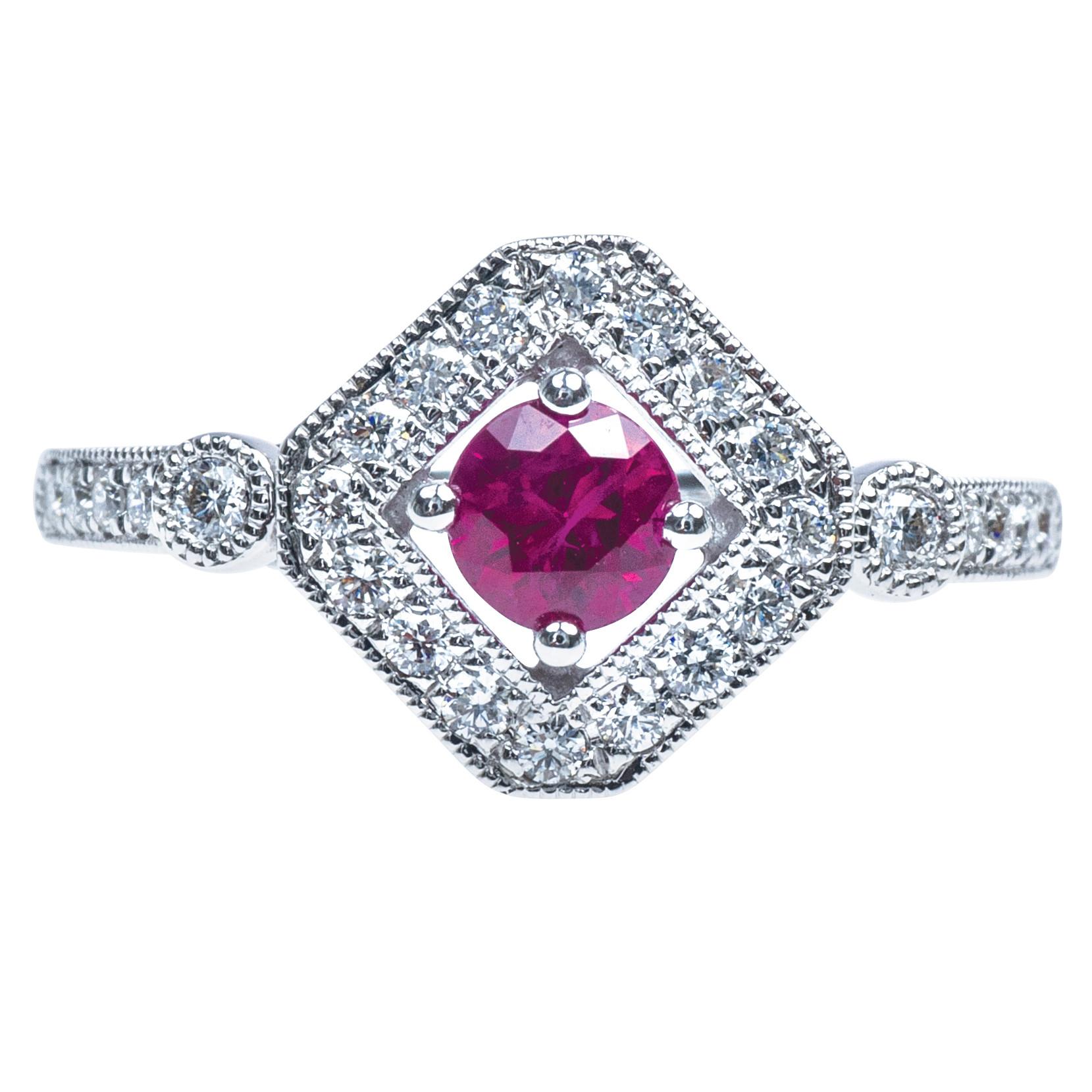 New 0.73 CTW Ruby & Diamond Ring