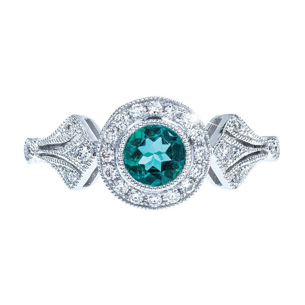 New 0.27 CT Emerald & Diamond Halo Ring