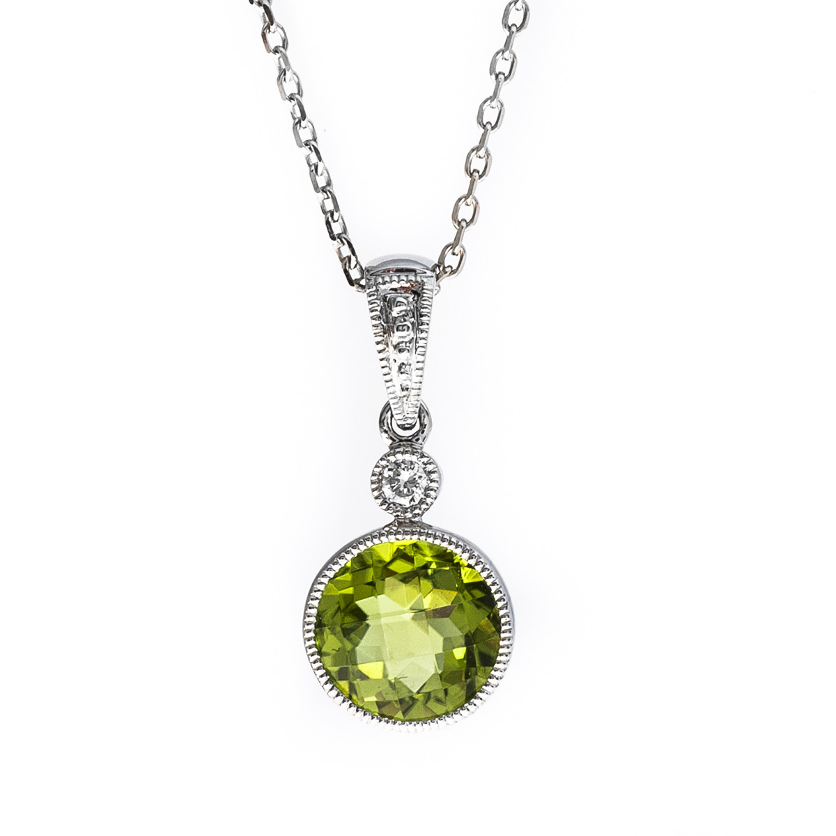 New 1.39 CTW Peridot & Diamond Pendant