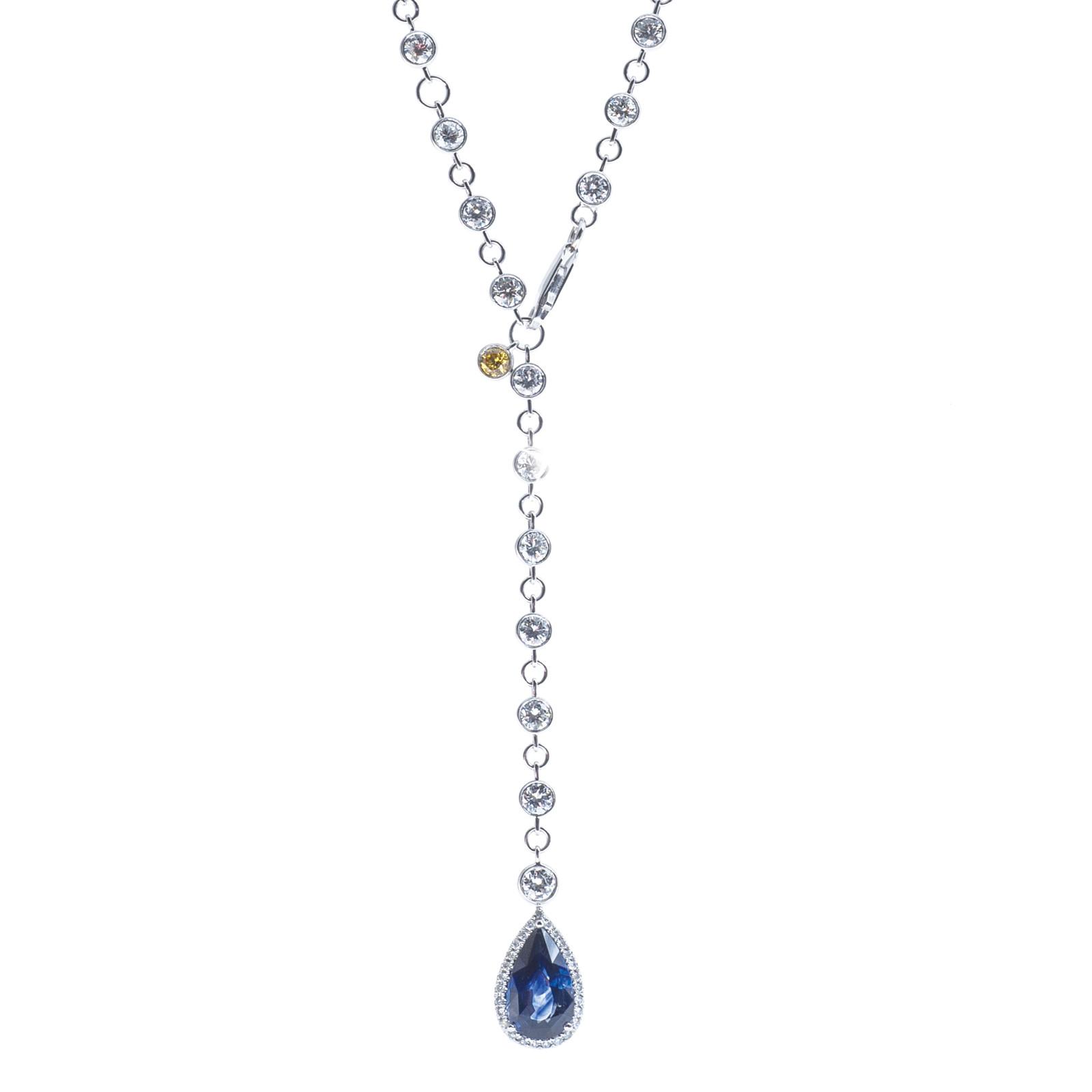 11.87 CTW Sapphire & Diamond Lariat Necklace