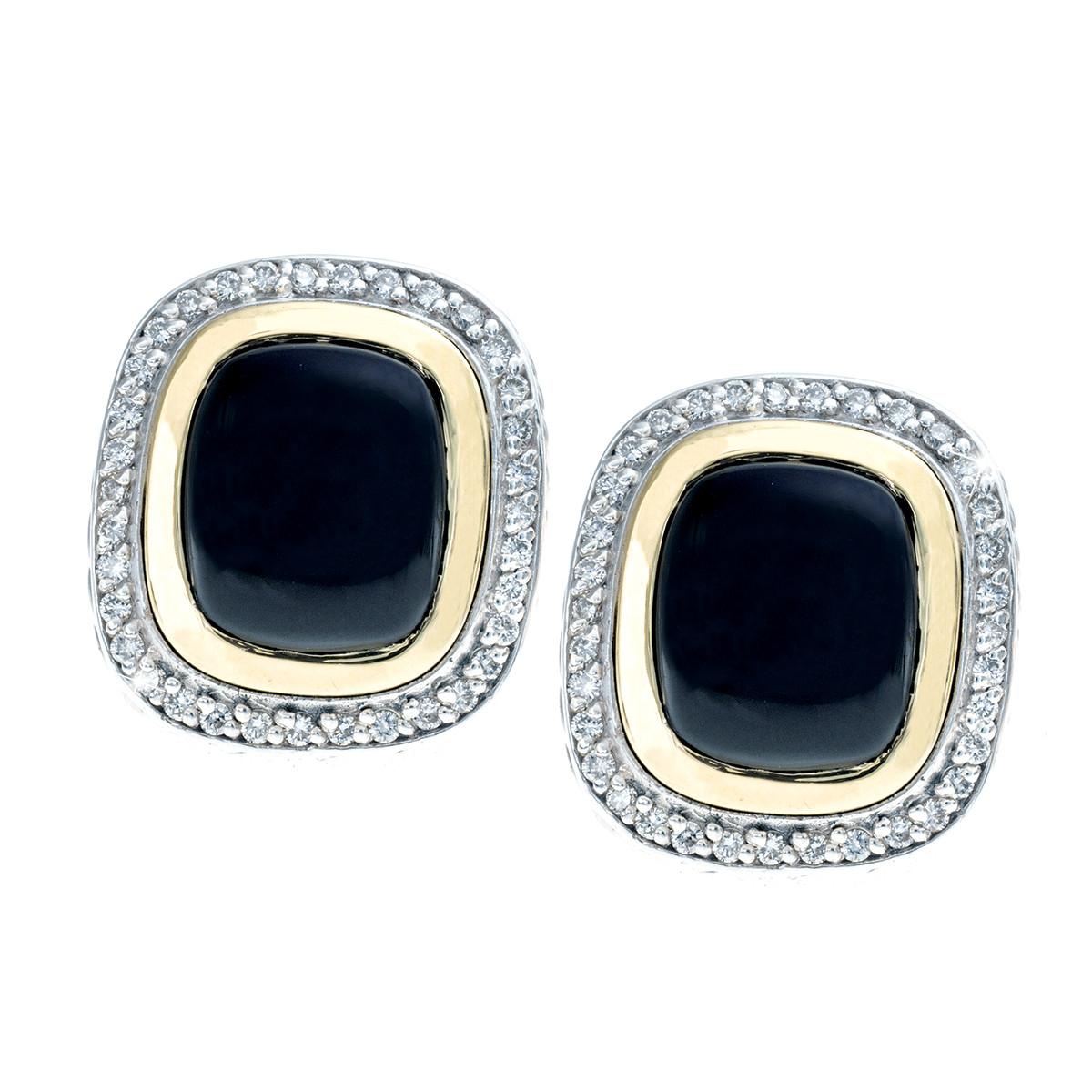 Vintage David Yurman Onyx & Diamond Albion Earrings