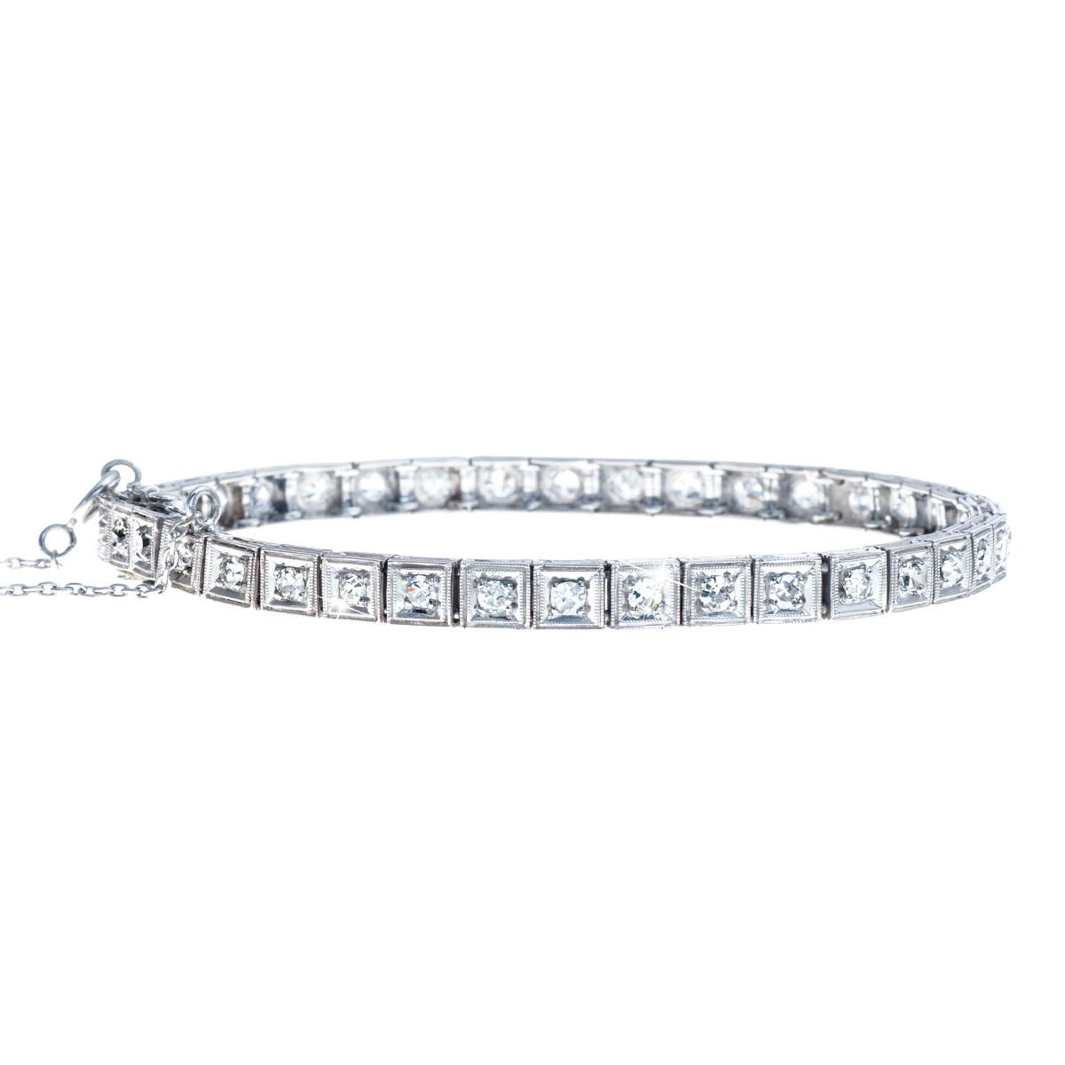 Art Deco 1.17 CTW Diamond Tennis Bracelet