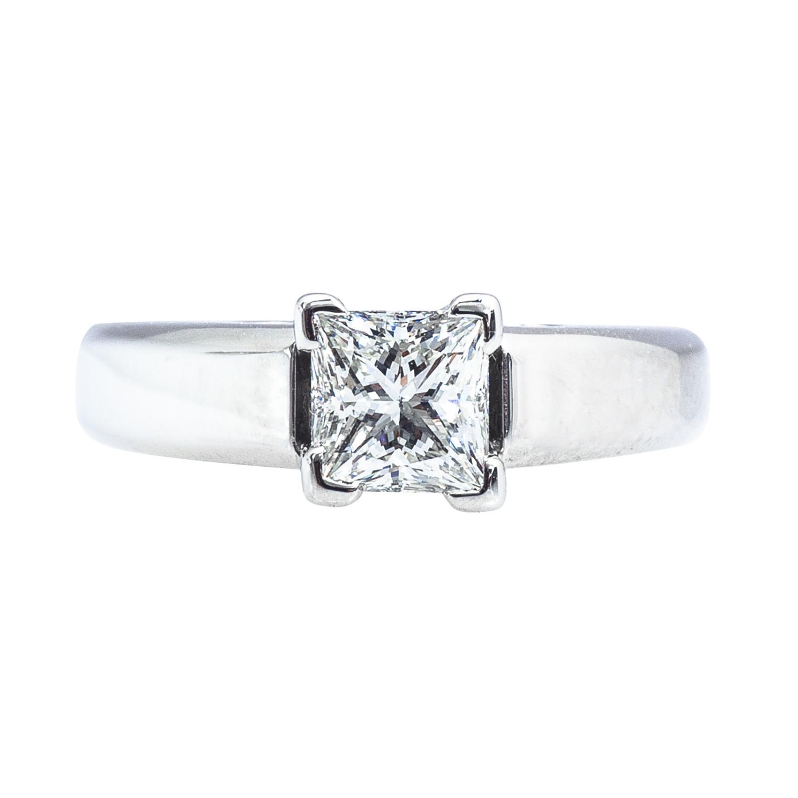 Vintage Scott Kay 1.03 CT Princess Cut Diamond Solitaire Engagement Ring