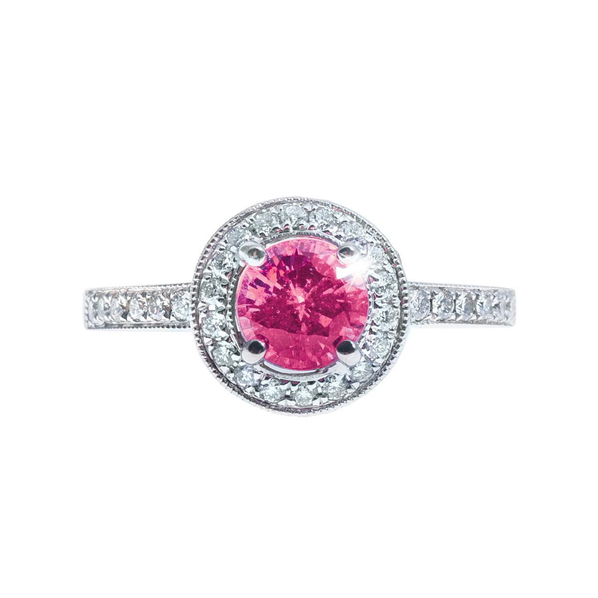 Vintage 1.84 CTW Pink Sapphire & Diamond Ring
