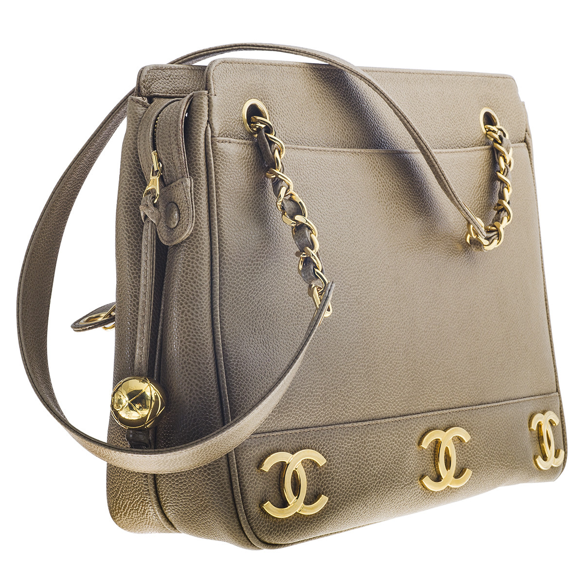 Vintage Chanel Camel Cavier Tote Handbag