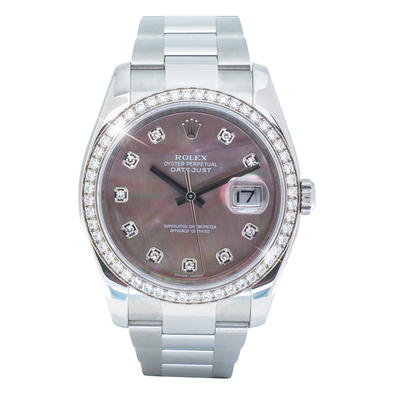 Pre-Owned Midsize Rolex Datejust Watch with MOP Diamond Dial