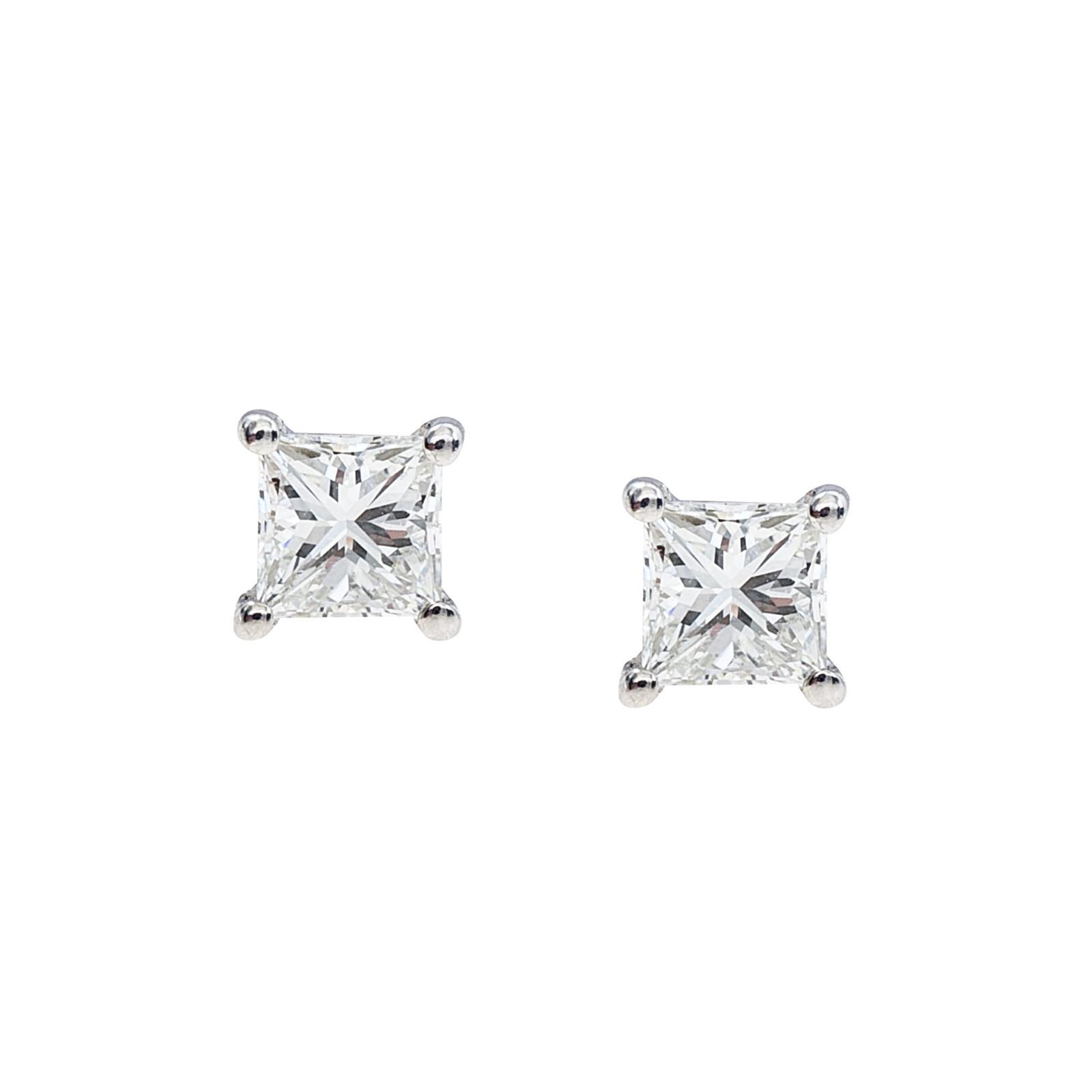 New 0.47 CTW Princess Cut Diamond Stud Earrings