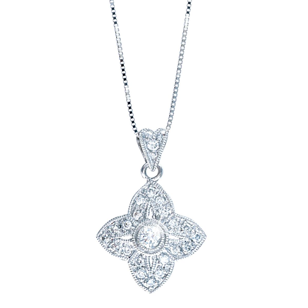 Vintage 0.16 CTW Diamond Petal Pendant