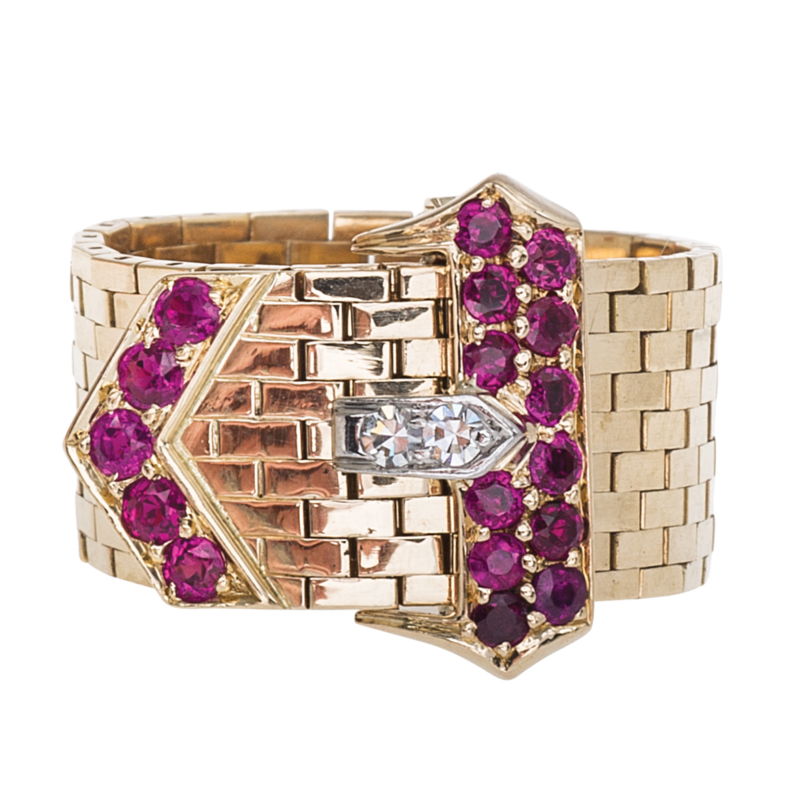 Vintage Retro-Inspired Diamond & Ruby Belt Ring