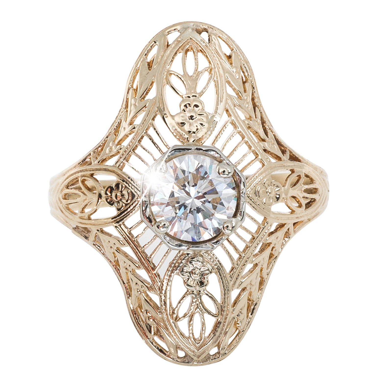 Vintage Retro-Inspired 0.57 CT Diamond Engagement Ring