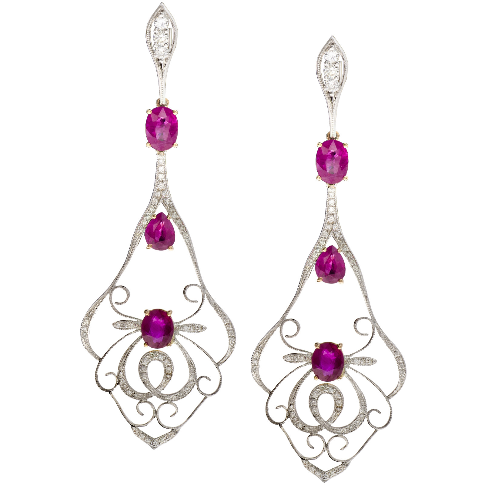 5.67 CTW Ruby & Diamond Earrings