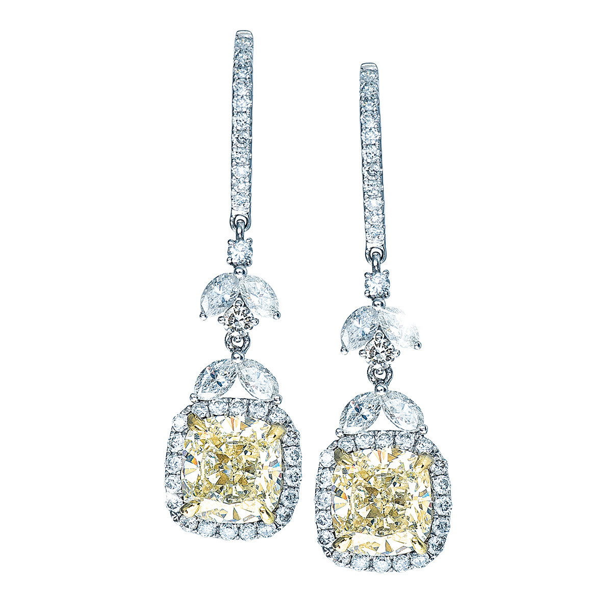 6.70 CTW White & Yellow Diamond Halo Earrings