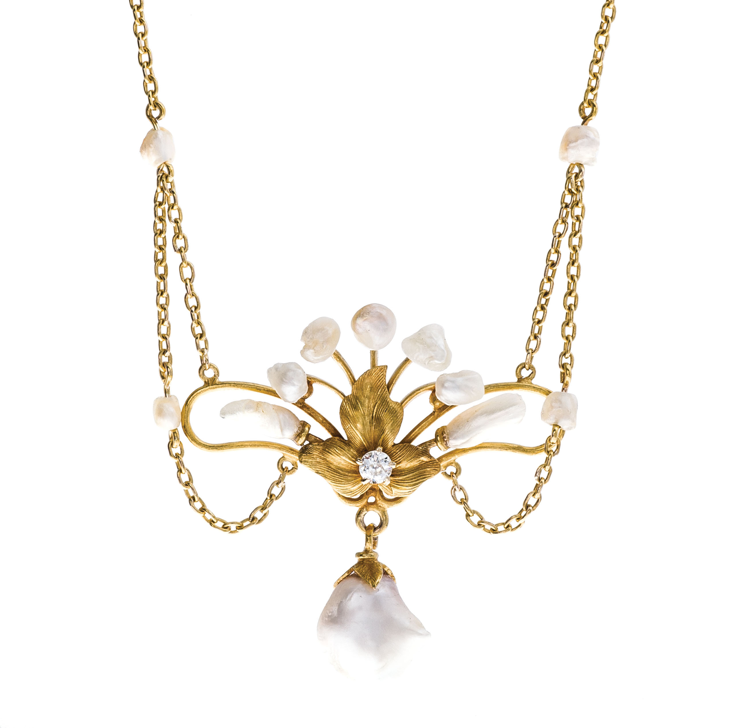 Art Nouveau Diamond & Pearl Necklace