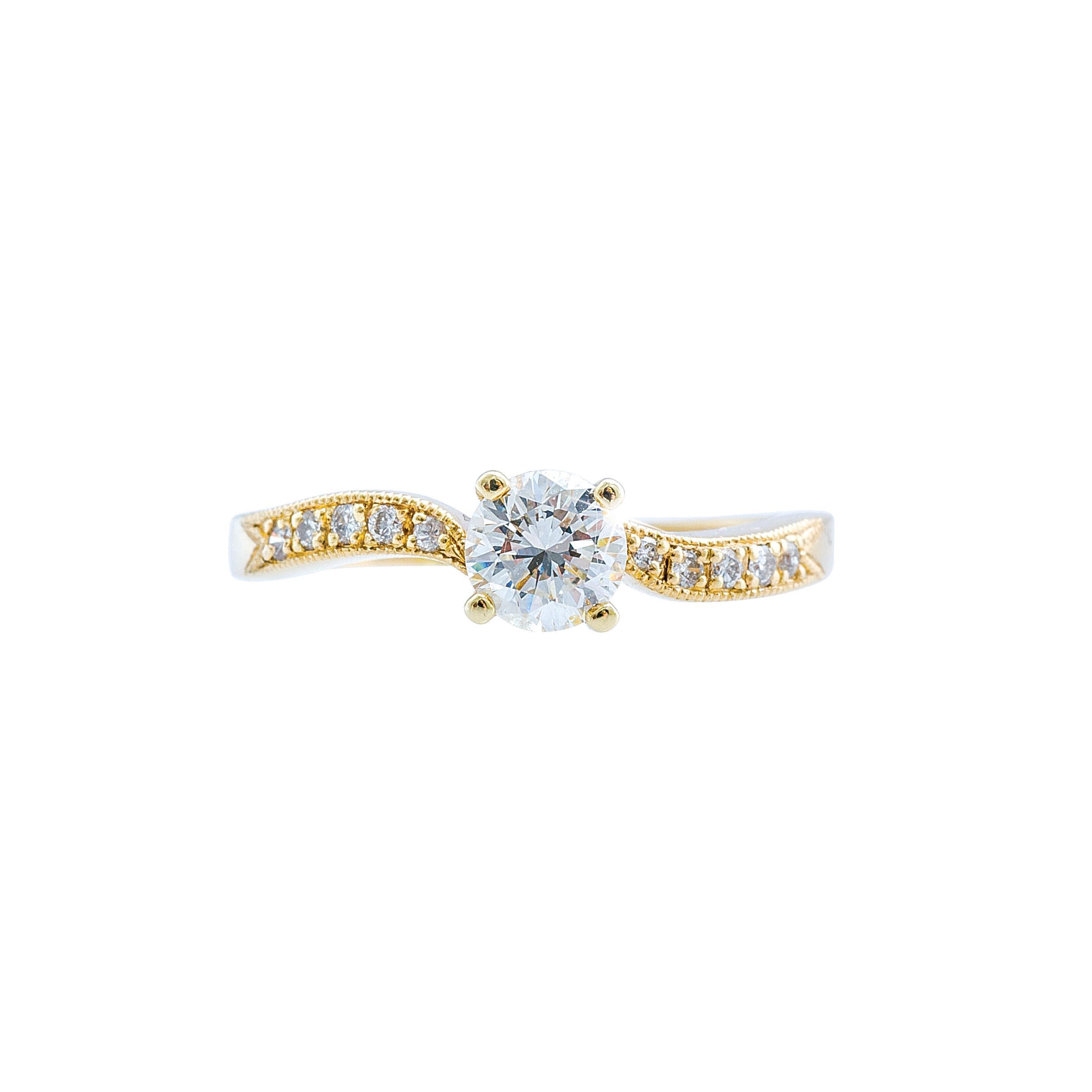 Vintage 0.59 CTW Diamond Wave Engagement Ring
