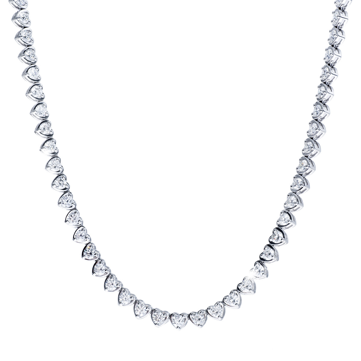 9.70 CTW Diamond Heart Tennis Necklace