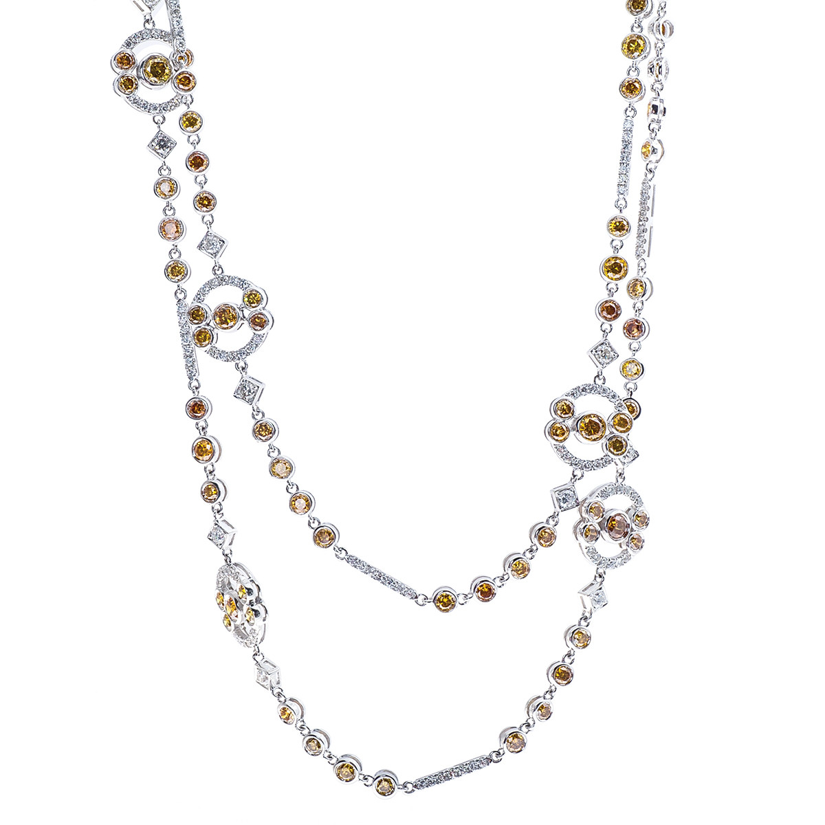 12.15 CTW Fancy Yellow & White Diamond Necklace