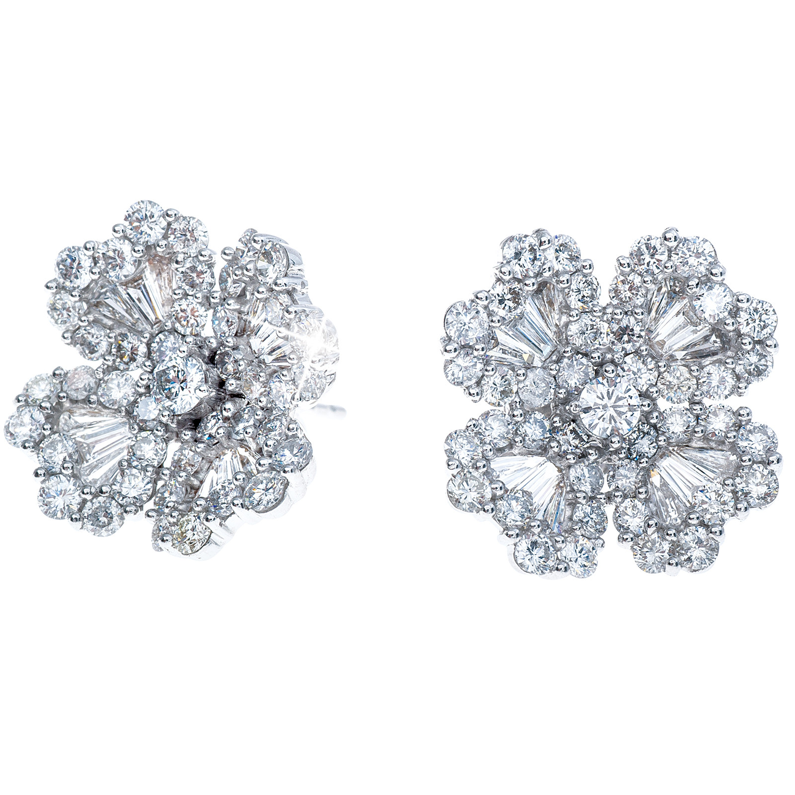 New 3.05 CTW Diamond Flower Studs
