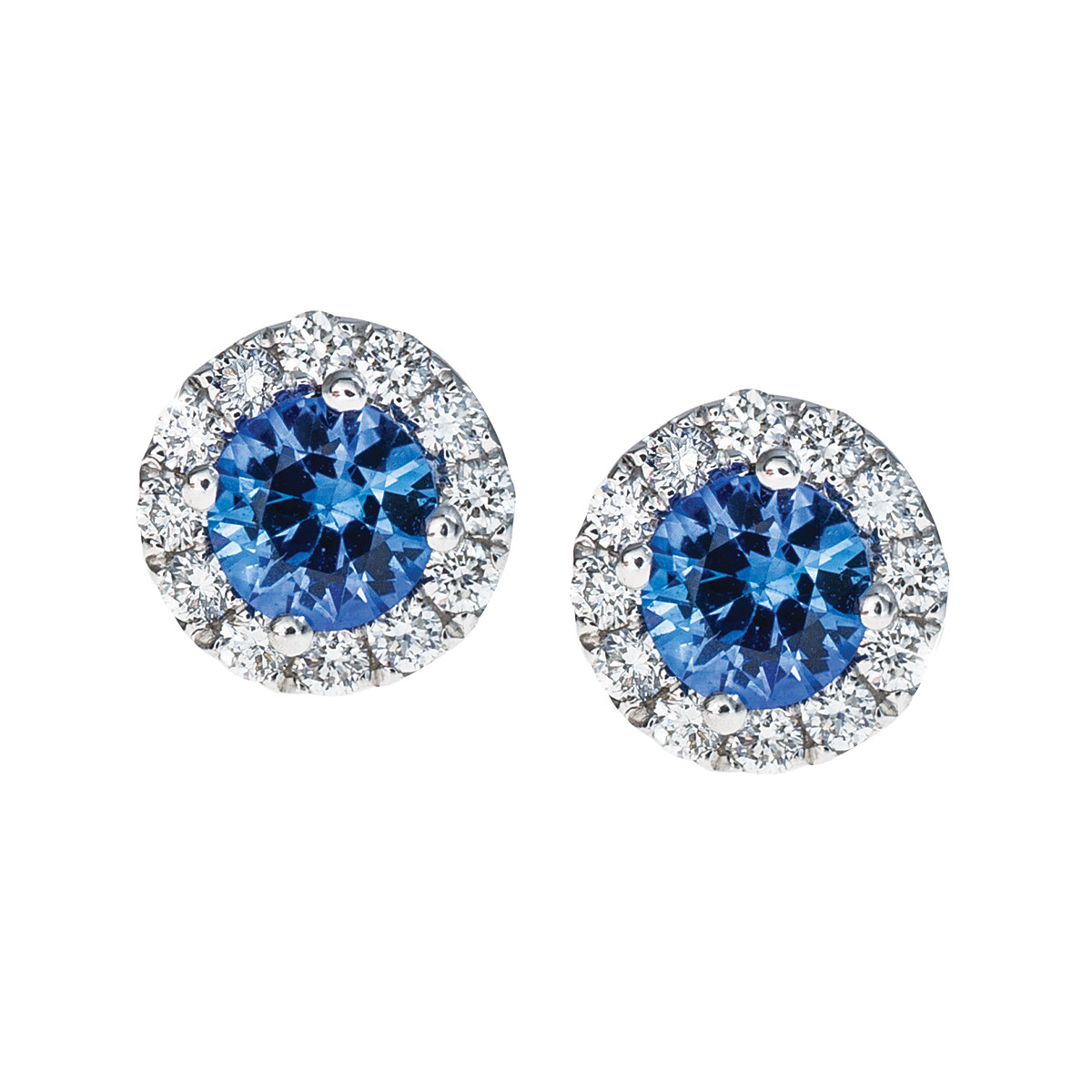 0.62 CTW Blue Sapphire & Diamond Stud Earrings