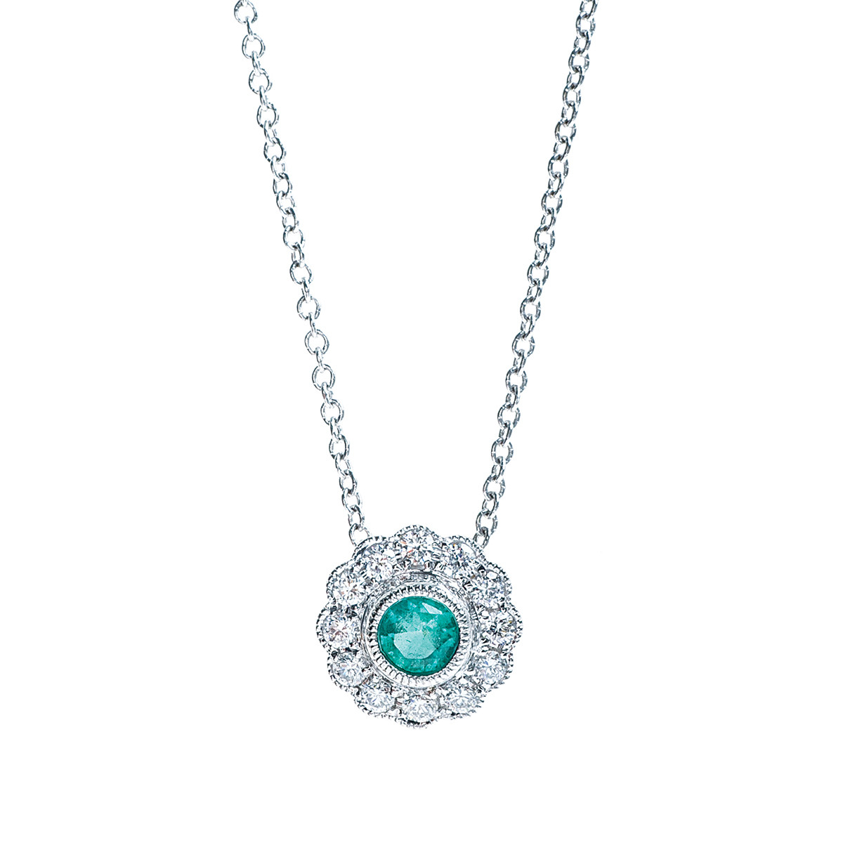 New Emerald & Diamond Halo Necklace