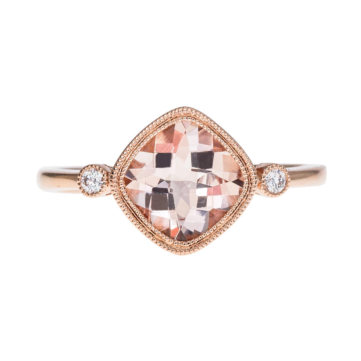 1.15 CT Morganite & Diamond Ring