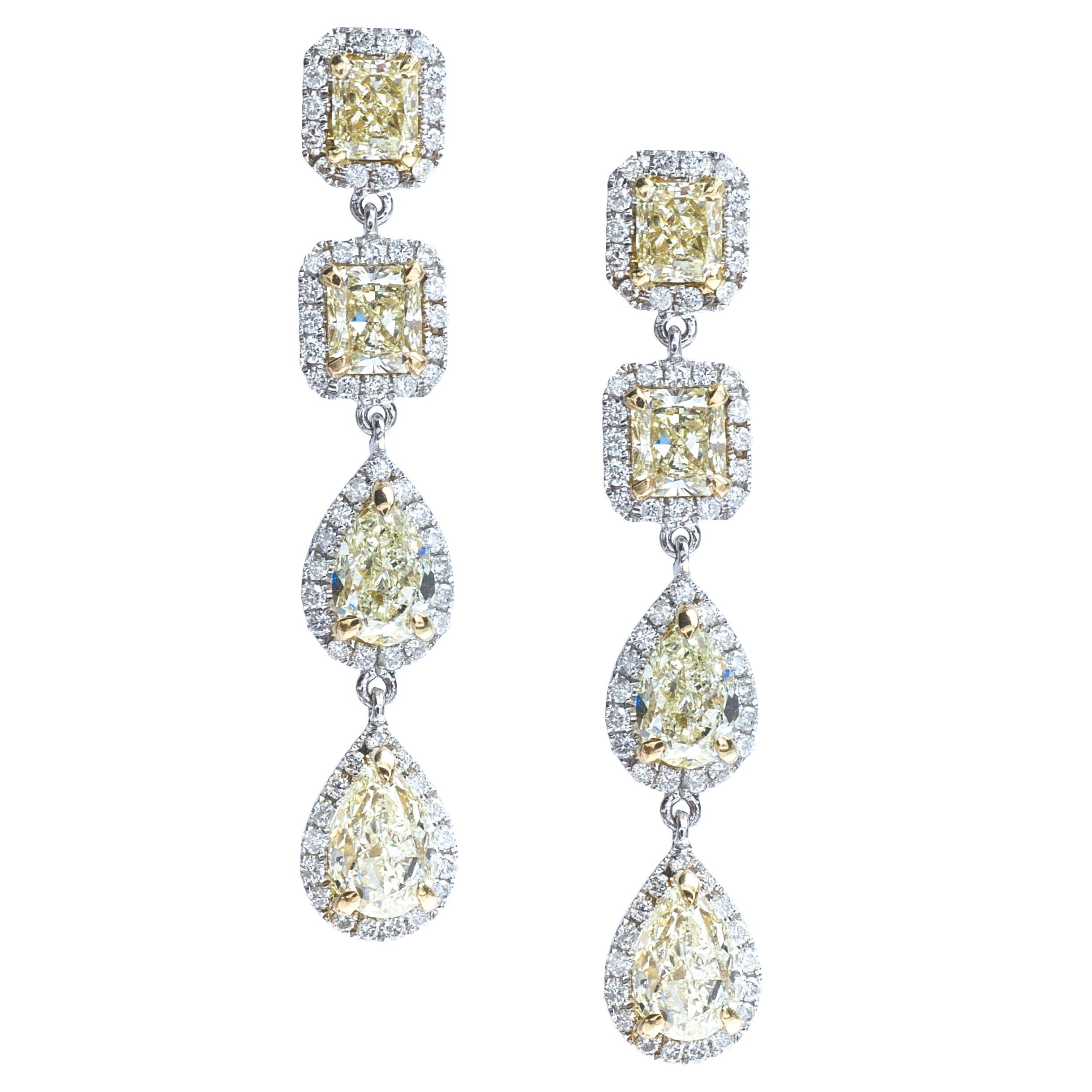 New 7.22 CTW Yellow & White Diamond Dangle Earrings