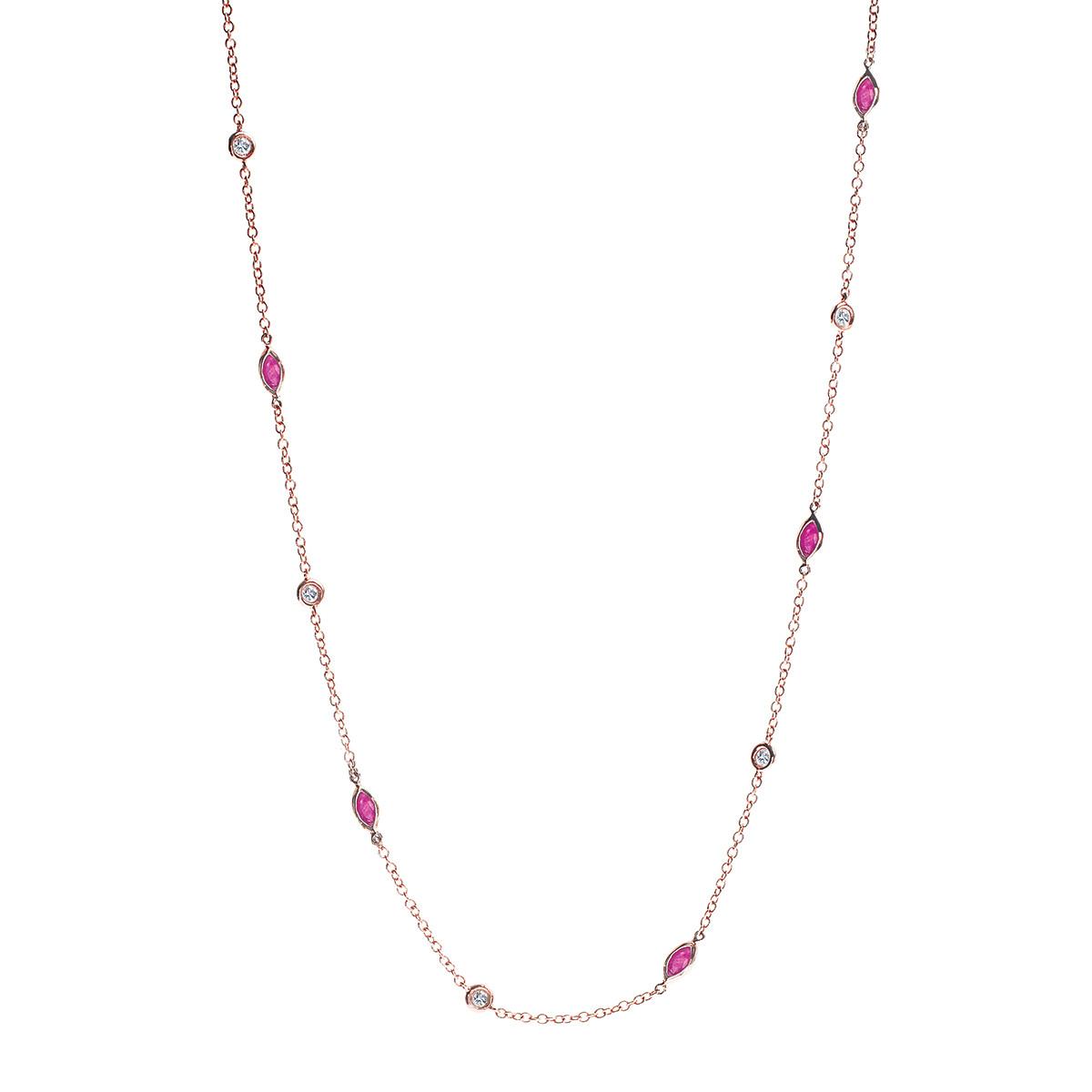 New 1.10 CTW Ruby & 0.90 CTW Diamond Necklace