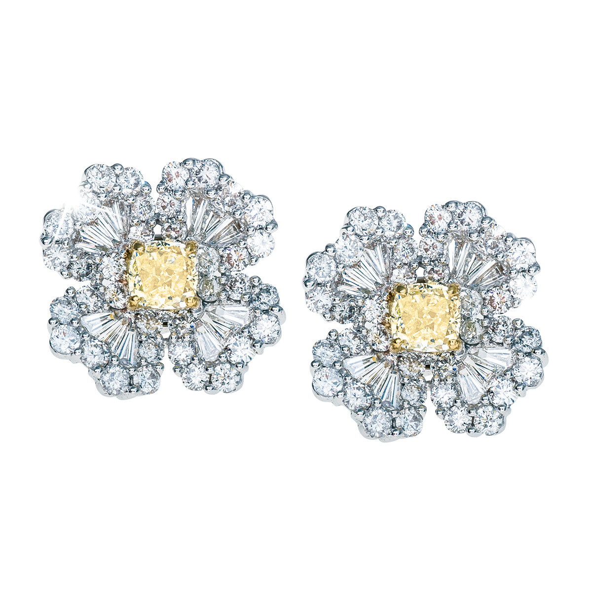 3.77 CTW White & Yellow Diamond Earrings