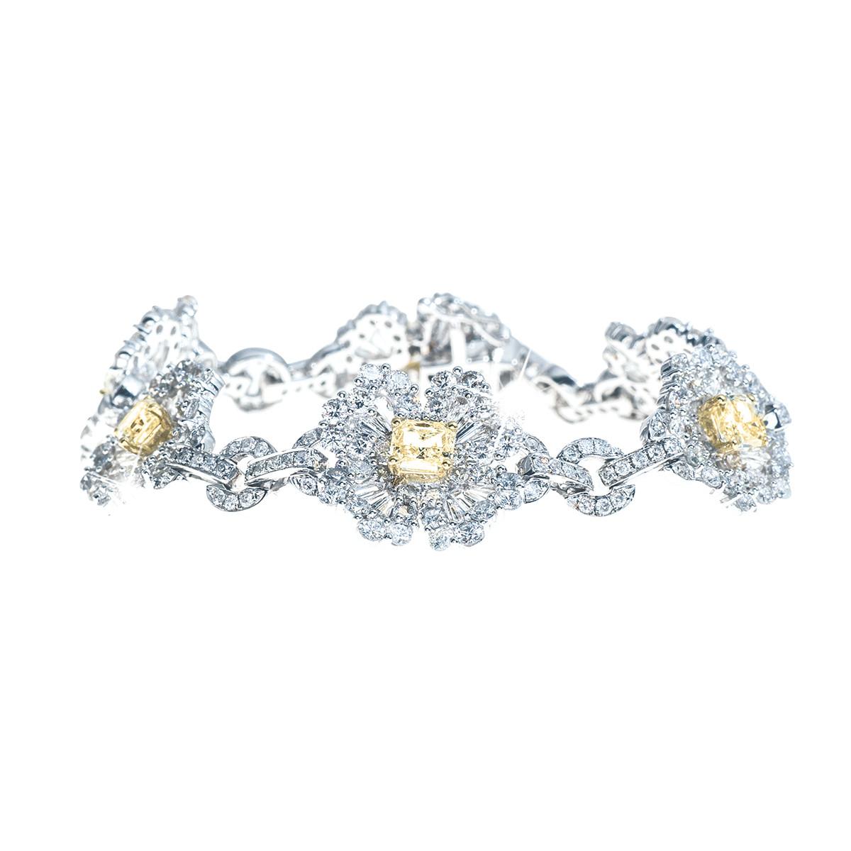 11.57 CTW White & Yellow Diamond Bracelet