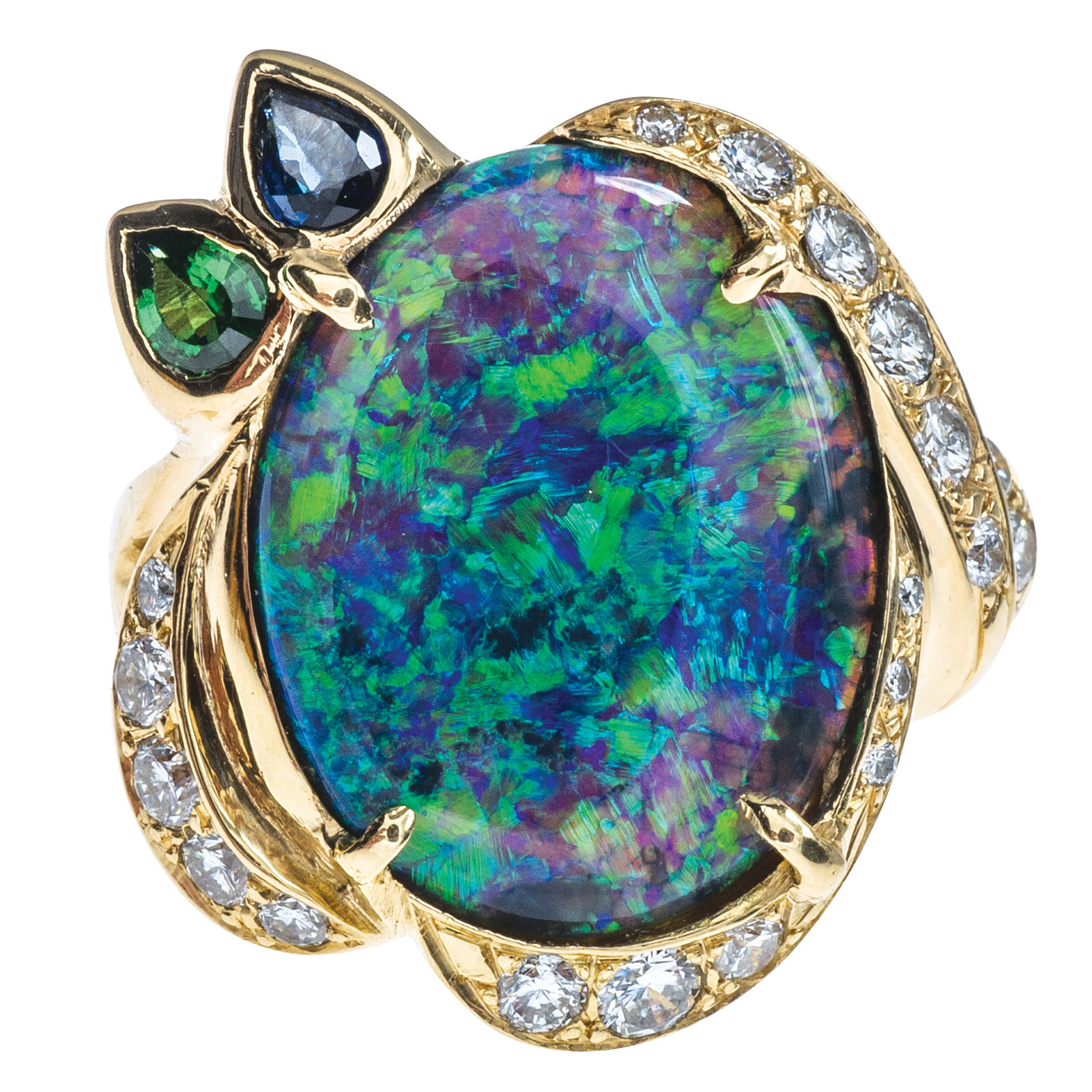 Vintage 7.75 CT Opal, Diamond, Tsavorite & Sapphire Ring