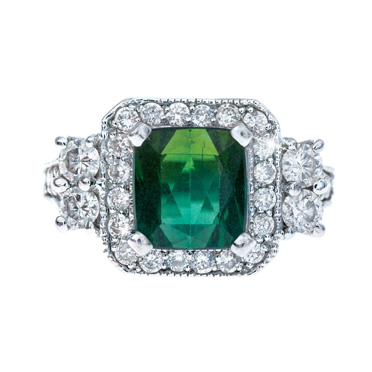 Vintage 3.17 CTW Green Tourmaline & Diamond Ring
