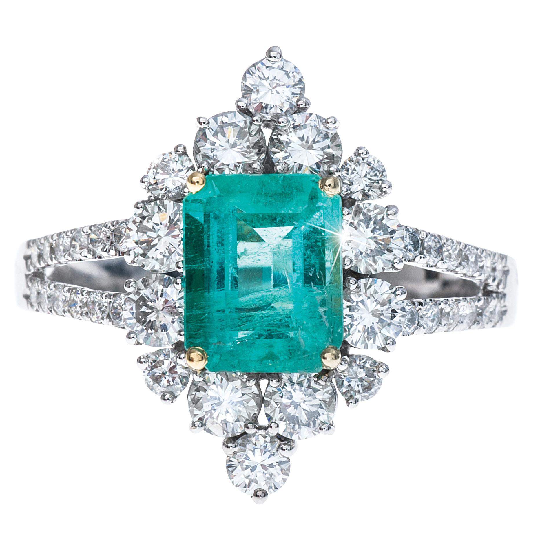 New 2.51 CTW Emerald & Diamond Halo Ring