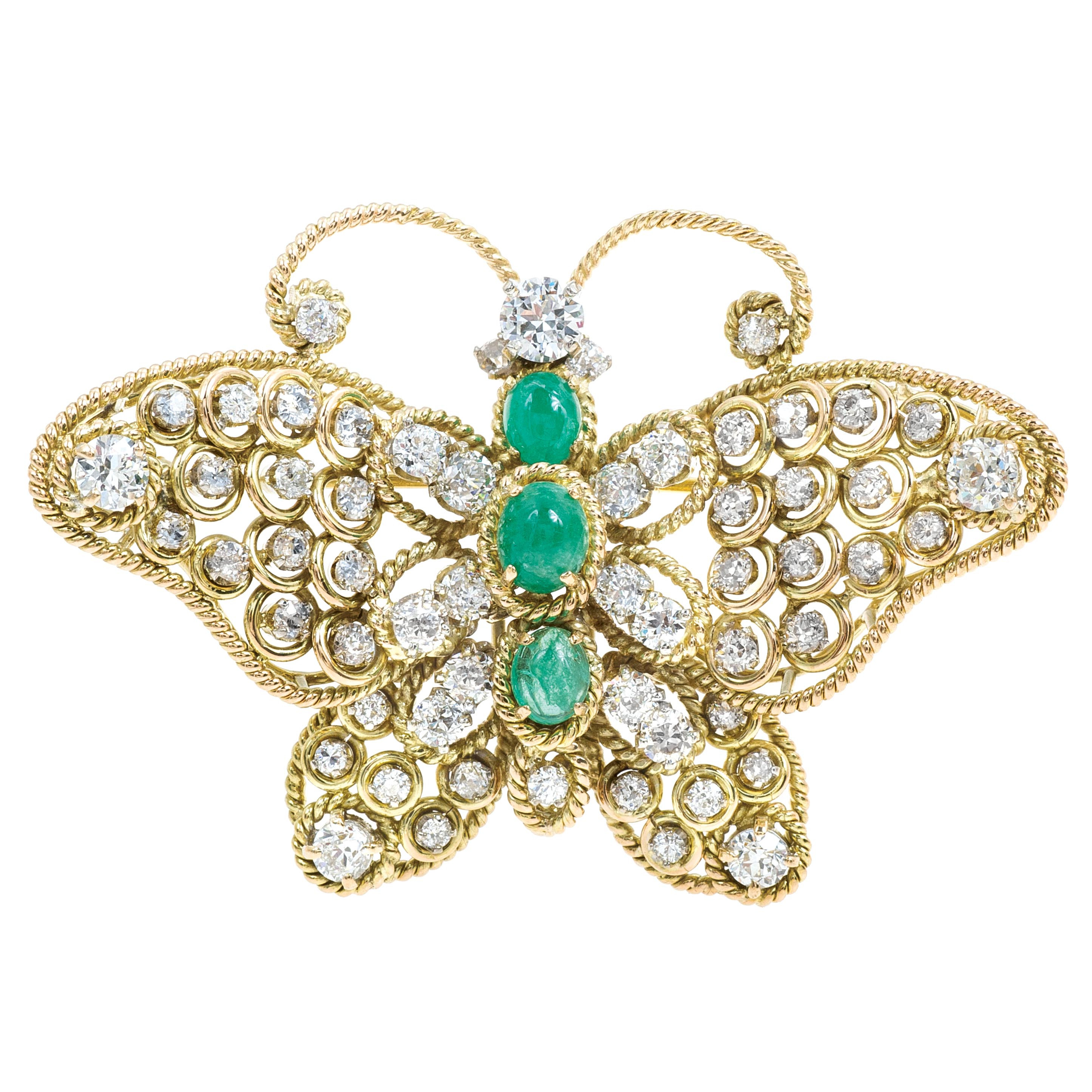 Antique Mid-Century 5.80 CTW Diamond & Emerald Butterfly Brooch